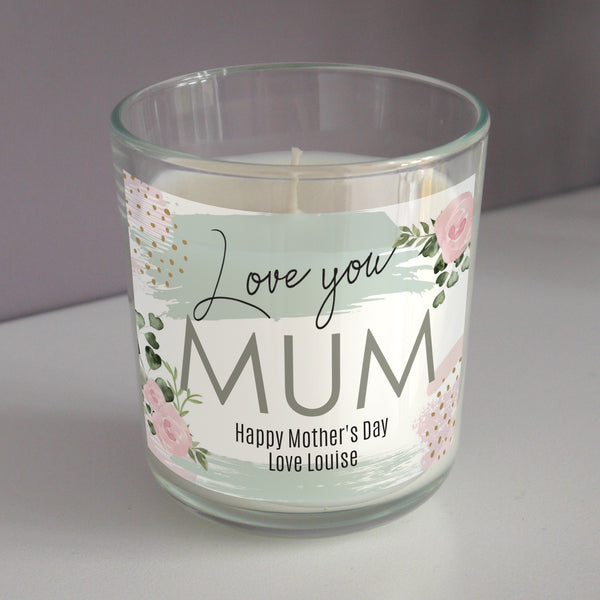 Beautiful personalised scented candle jar, to show that special someone just how much you love them with the sweet sentiment 'Love you' as fixed text. Perfect gift for friends and family.   Personalise your candle with:
