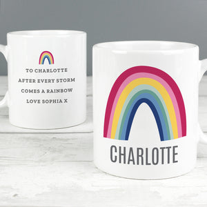 This lovely mug with a bright rainbow design is sure to make someone smile.  The front of the mug can be personalised with a name of up to 12 characters including spaces and punctuation.  The reverse of the mug can also be personalised with any message over 4 lines up to 25 characters per line.