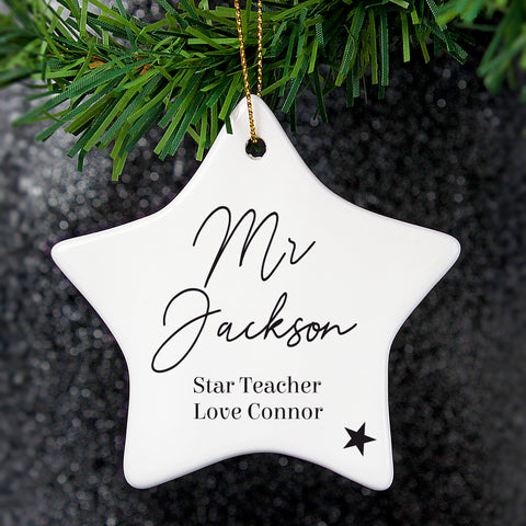 Beautiful personalised ceramic star hanging decoration, create the perfect gift with your own words.   Personalise your star with 2 lines of 12 characters per line and a further 2 lines with up to 20 characters per line.