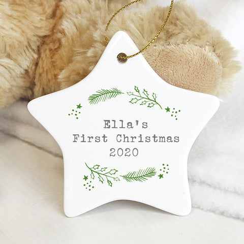 ***Price includes delivery***  Beautiful personalised ceramic star Christmas decoration, with your own words. Would make the perfect gift for loved ones this Christmas.   Personalise your bauble with 3 lines of 15 characters per line.