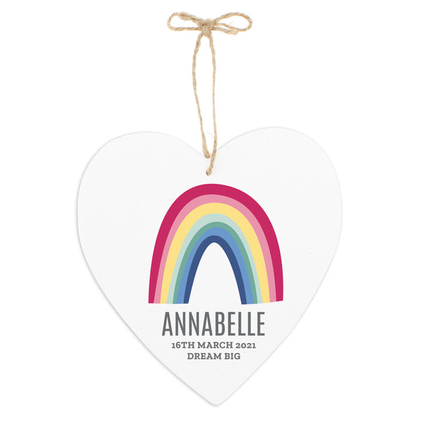 Wooden Hanging Heart with bright rainbow design which can be personalised with a name up to 12 characters and a message with up to 2 lines of 20 characters.