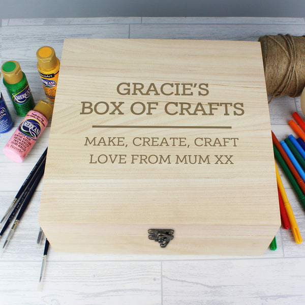 Quirky wooden keepsake box to keep clutter at bay or store those special keepsakes featuring a metal clasp and hinges.  The box can be personalised with 2 lines of text with up to 15 characters per line (above the line) and 2 lines of text with up to 25 characters per line (below the line).
