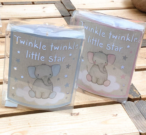Cut out LED light box.  Decorated with cute baby elephant sitting on the starry clouds with text which reads:  'Twinkle Twinkle Little Star'  Would make a beautiful baby gift or lovely nursery addition for your own little one.