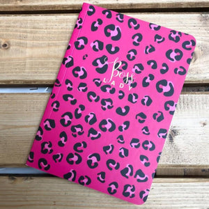 Vibrant stationary with a luxe pink leopard print cover and the bold golden sentiment, 'Boss Lady', with 192 ruled writing pages.