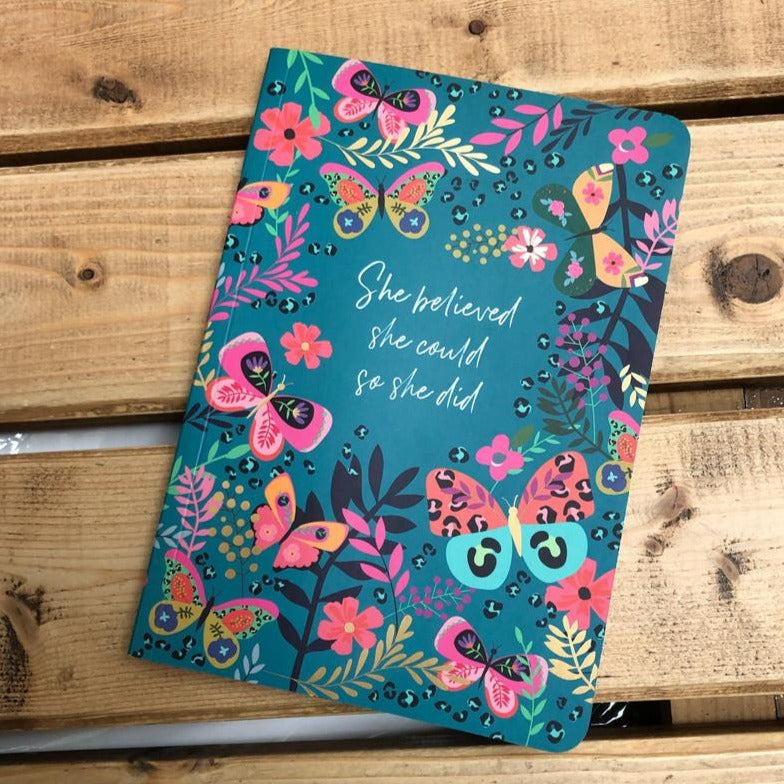 Vibrant stationary with a luxe teal butterfly print cover and the inspiring sentiment, 'She believed she could, so she did', with 192 ruled writing pages.
