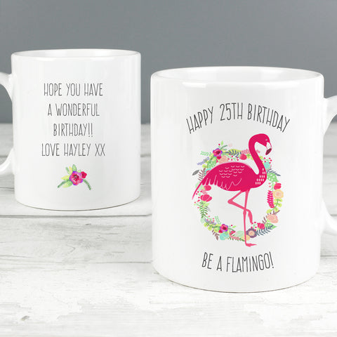 Personalised Flamingo Mug Birthday