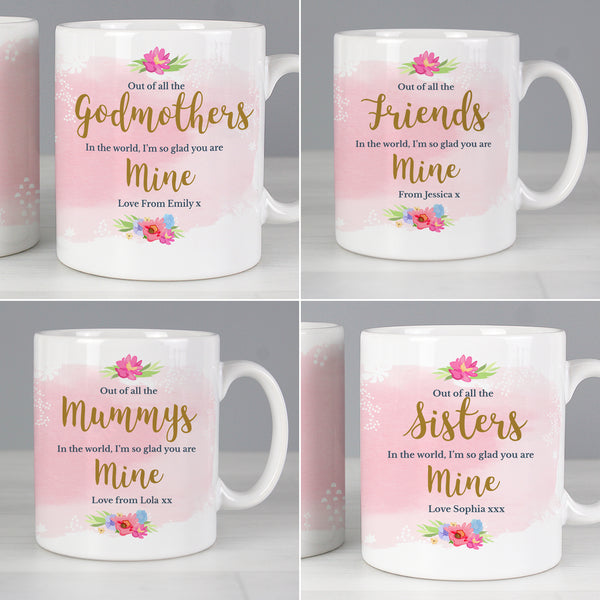 Personalised Floral Family Mug