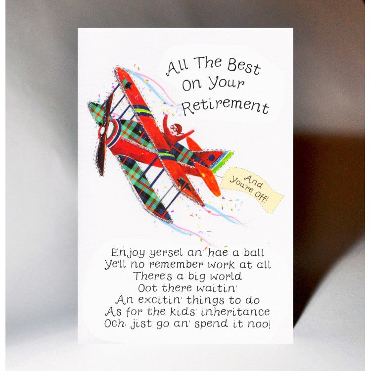 Scottish retirement card featuring a touch of tartan, aeroplane design and witty Scottish slang poem