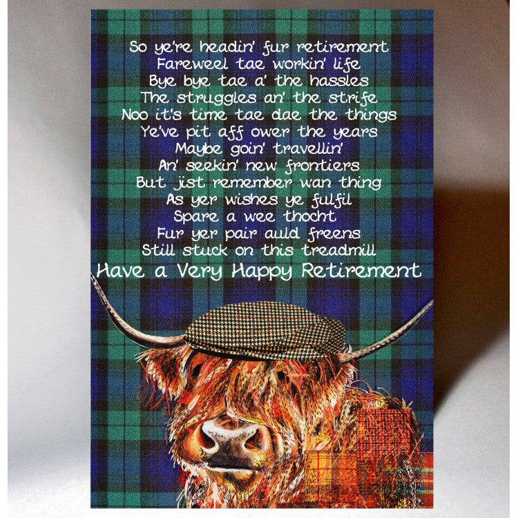 Scottish retirement card featuring a touch of tartan, witty Scottish slang poem and Highland Coo