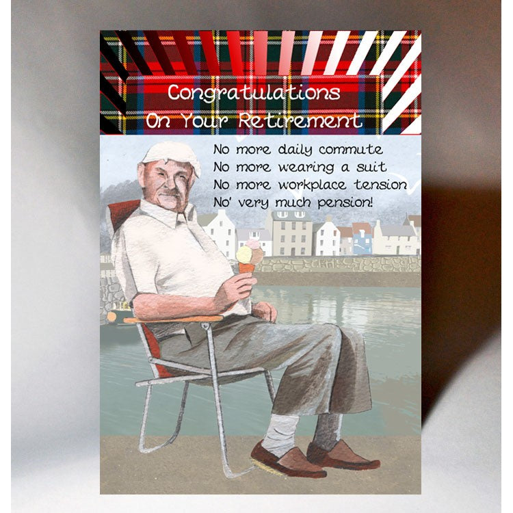 Scottish retirement card featuring a touch of tartan and humorous Scottish slang poem
