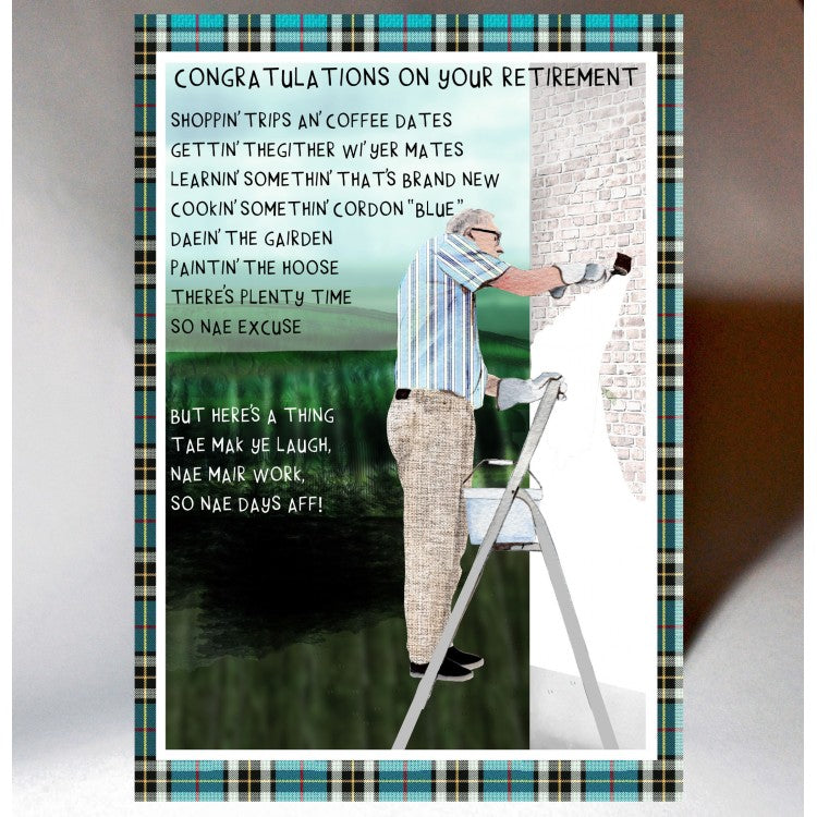 Scottish retirement card featuring witty Scottish poem