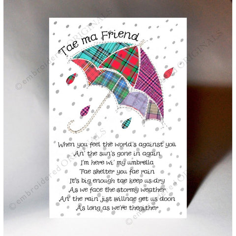 Keepsake card featuring tartan umbrella design and a Scottish slang poem
