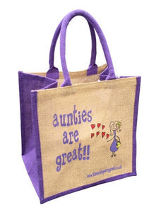 Printed Jute Shopper - Aunties are Great
