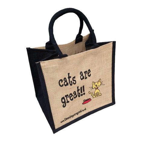 Quirky jute shopping bag which features a printed cartoon image of a cat and the text  'Cats are Great'