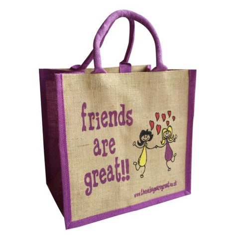 Printed Jute Shopper - Friends are Great