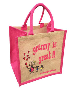 Jute Shopper with pink trim - Granny is Great