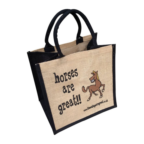 Quirky jute shopping bag which features a printed cartoon image of a horse and the text  'Horses are Great'