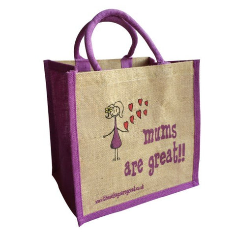 Printed Jute Shopper - Mums are Great