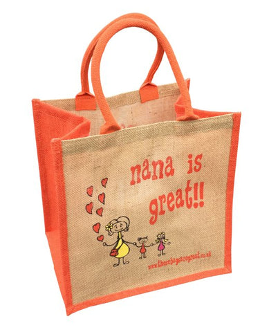 Printed Jute Shopper - Nana is Great