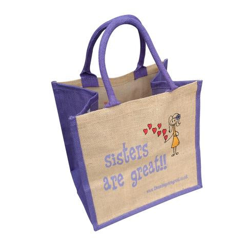 Fun jute shopping bag which features a printed cartoon image of a Sister and the text 'Sisters are Great'