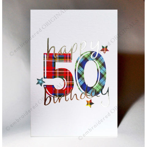 ***Price Includes Delivery *** Scottish birthday card featuring tartan number '50' The message on the front of the card reads: 'Happy 50 Birthday' Blank inside Designed and printed in Scotland Textured white card with embossed silver foil highlight Dimensions: A6 - 15cm x 10.5cm We can send direct to recipient free of charge including a handwritten message inside .... simply add a note to your order (from cart page) including your message.
