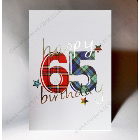 ***Price Includes Delivery *** Scottish birthday card featuring tartan number '65' The message on the front of the card reads: 'Happy 65 Birthday' Blank inside Designed and printed in Scotland Textured white card with embossed silver foil highlight Dimensions: A6 - 15cm x 10.5cm We can send direct to recipient free of charge including a handwritten message inside .... simply add a note to your order (from cart page) including your message.