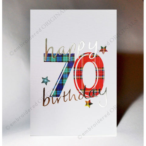 ***Price Includes Delivery *** Scottish birthday card featuring tartan number '70' The message on the front of the card reads: 'Happy 70 Birthday' Blank inside Designed and printed in Scotland Textured white card with embossed silver foil highlight Dimensions: A6 - 15cm x 10.5cm We can send direct to recipient free of charge including a handwritten message inside .... simply add a note to your order (from cart page) including your message.
