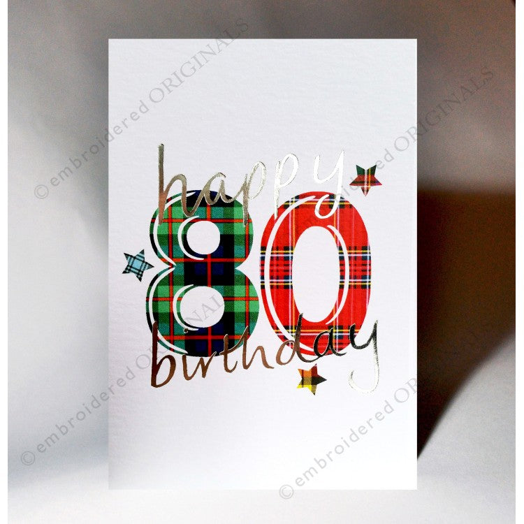 Scottish Birthday Card - Tartan 80th