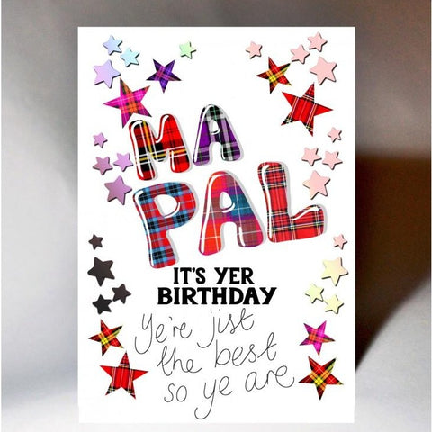 Scottish Slang Birthday Card with tartan font and stars design - Ma Pal