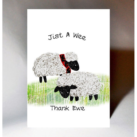 Scottish thank you card with sheep design which reads:  'Jist a wee thank ewe'