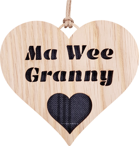 Hanging Heart with Tartan - Ma Wee Granny