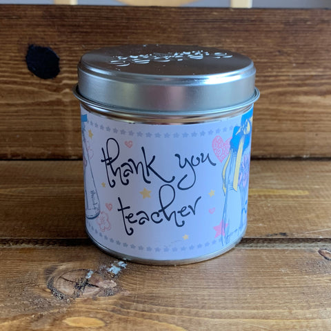 Gorgeous hand finished, scented candle with added sparkle from Best Kept Secret's Seriously Scented Occasion range.  Each candle has it's own sentiment.  The tin reads 'Thank You Teacher'