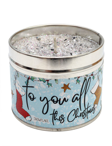 Gorgeous hand finished, scented candle with added sparkle from Best Kept Secret's Christmas range in collaboration with designer Tracey Russell. This beautiful tin candle reads 'To you all this Christmas'.  Scent: Snowflake