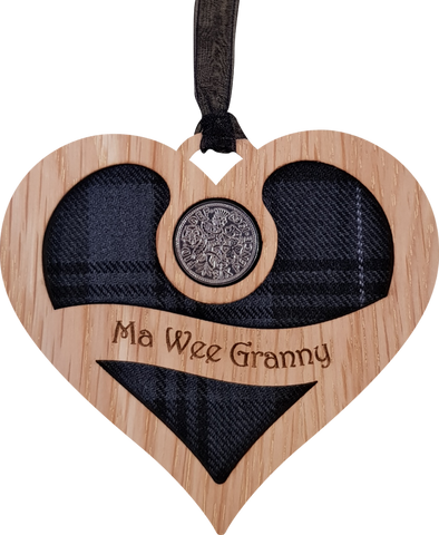 Lucky sixpence on hanging wooden heart with tartan - ma wee granny
