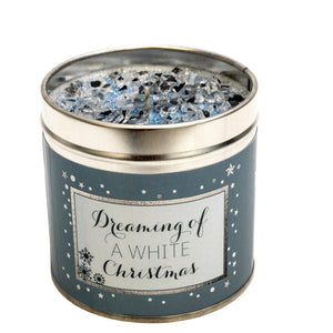 Gorgeous hand finished, scented candle with added sparkle from Best Kept Secret's Seriously Scented Christmas range with festive sentiment 'Dreaming of a white Christmas'.  Scent:  Lily, rose, mandarin, lemon and vanilla.