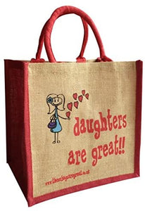 Fun jute shopping bag which features a printed cartoon image of a girl and the text 'Daughters are Great' The bags are lined with a laminate to help make them water resistant and have padded handles for comfortable carrying.