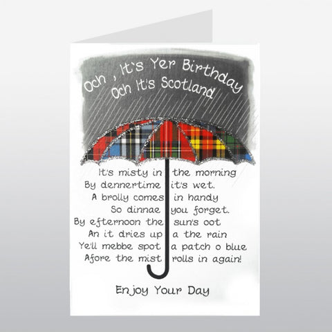 Scottish birthday card with tartan umbrella and Scottish slang poem