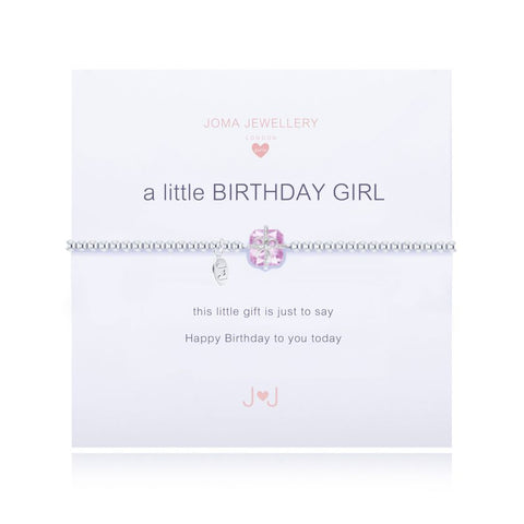 "***For Children*** Joma Jewellery Girls 'a little' birthday girl bracelet with cubic zirconia gemstone, presented on a sentiment card which reads: ""This little gift is just to say Happy Birthday to you today"" Beautifully packaged in it's own Joma Jewellery envelope and gifting card. Metal Type: Silver plated brass Dimensions: 15.5 cm"