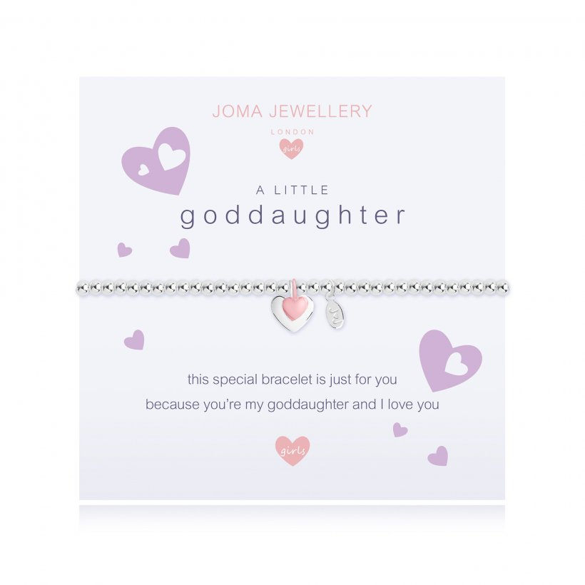 ***For Children***  Joma Jewellery Girls 'a little' Goddaughter bracelet with heart charm, presented on a sentiment card which reads:  'This special bracelet is just for you because you're my Goddaughter and I love you'