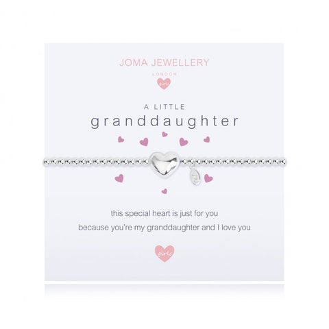 ***For Children***  Joma Jewellery Girls 'a little' Goddaughter bracelet with heart charm, presented on a sentiment card which reads:  'This special heart is just for you because you're my granddaughter and I love you'