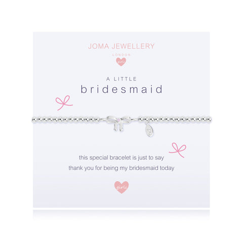 ***For Children***  Joma Jewellery Girls 'a little' Bridesmaid bracelet with pretty bow charm, presented on a sentiment card which reads:  'This special little bracelet is just to say thank you for being my bridesmaid today'