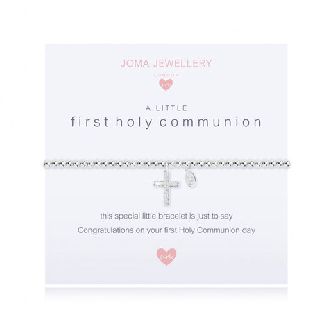 ***For Children***  Joma Jewellery Girls 'a little' bracelet with cubic zirconia gemstone, presented on a sentiment card which reads:  'This special little bracelet is just to say congratulations on your first Holy Communion day'
