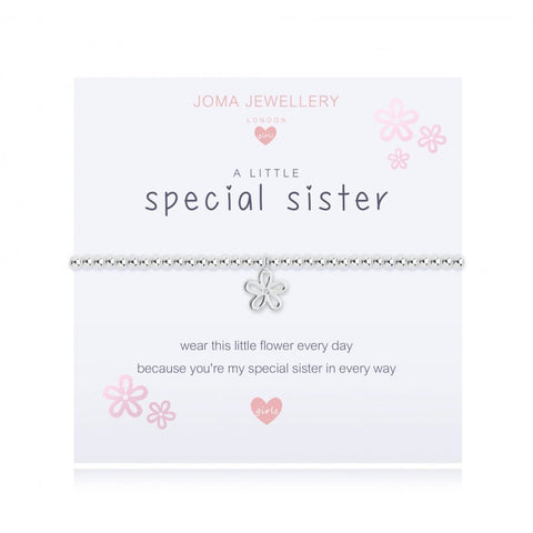 Joma Jewellery Girls 'a little' bracelet with flower charm, presented on a sentiment card which reads:  'wear this little flower every day because you're my special sister in every way'