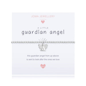 "***For Children** Joma Jewellery Girls 'a little' bracelet with guardian angel charm, presented on a sentiment card which reads: ''this guardian angel from up above is sent to look after the ones we love""  Beautifully packaged in it's own Joma Jewellery envelope and gifting card. Metal Type: Silver plated brass Dimensions: 15.5 cm"