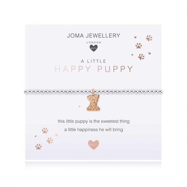 ***For Children***  Joma Jewellery Girls 'a little' Happy Puppy bracelet with cute dog charm, presented on a sentiment card which reads:  'this little puppy is the sweetest thing, a little happiness he will bring'