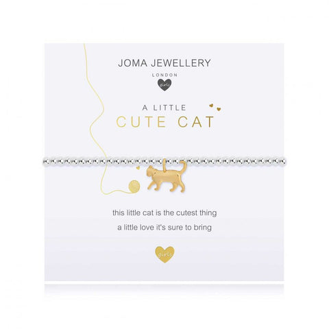 ***For Children***  Joma Jewellery Girls 'a little' Cute Cat bracelet with cute kitten charm, presented on a sentiment card which reads:  'this little cat is the cutest thing, a little love it's sure to bring'
