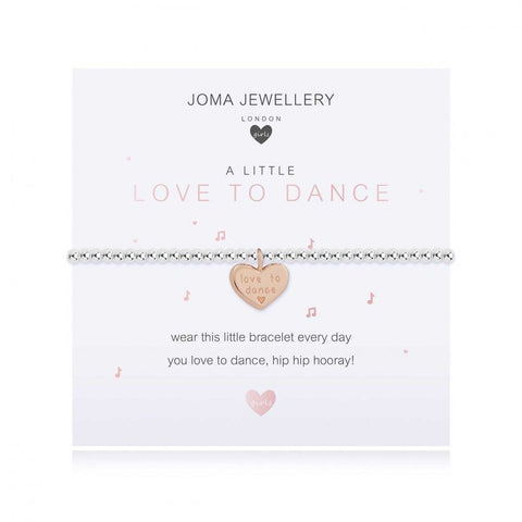 ***For Children***  Joma Jewellery Girls 'a little' Love to Dance bracelet with cute engraved heart charm, presented on a sentiment card which reads:  'wear this little bracelet every day, you love to dance, hip hip hooray!'