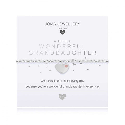 ***For Children***   Joma Jewellery Girls 'a little' Lovely Granddaughter bracelet with beautiful heart charm, presented on a sentiment card which reads:  'wear this little bracelet every day, because you're a wonderful granddaughter in every way'