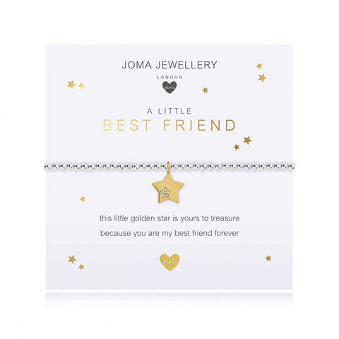 ***For Children***   Joma Jewellery Girls 'a little' Best Friend bracelet with beautiful gold star charm, presented on a sentiment card which reads:  'this little golden star is yours to treasure, because you are my best friend forever'