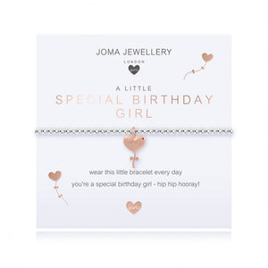 ***For Children***  Joma Jewellery Girls 'a little' Special birthday girl bracelet with dainty little rose gold heart balloon charm, presented on a sentiment card which reads:  'wear this little bracelet everyday you're a special birthday girl - hip hip hooray!'